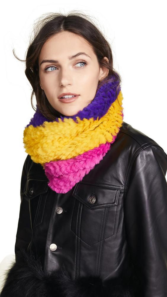 Adrienne Landau Tri-Tone Knit Fur Cowls Scarf in purple / yellow