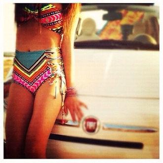 swimwear bikini long hair high waisted bikini stacked jewelry tanned girl