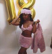 top,fur set,fur bra and skirt,skirt,bra,coat,pink,pink bra,furry coat,furry bra,furry bra fuzzy bra,furry skirt,pink fur skirt,fur skirt,amourjayda,headband,fur,fur coat