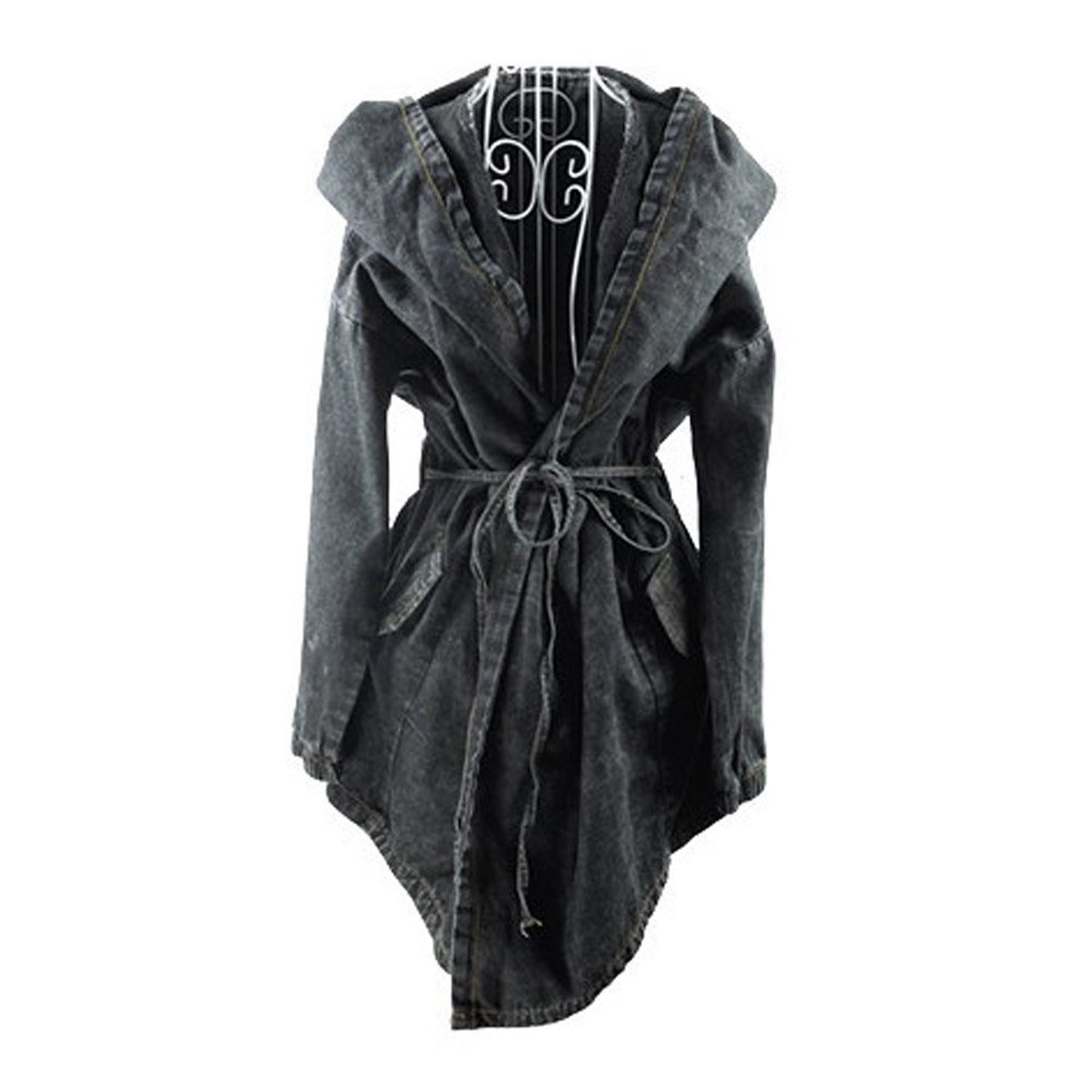 Xfome Style Women's Denim Trench Coat Hoodie Hooded Outerwear Jean Jacket at Amazon Women's Clothing store: