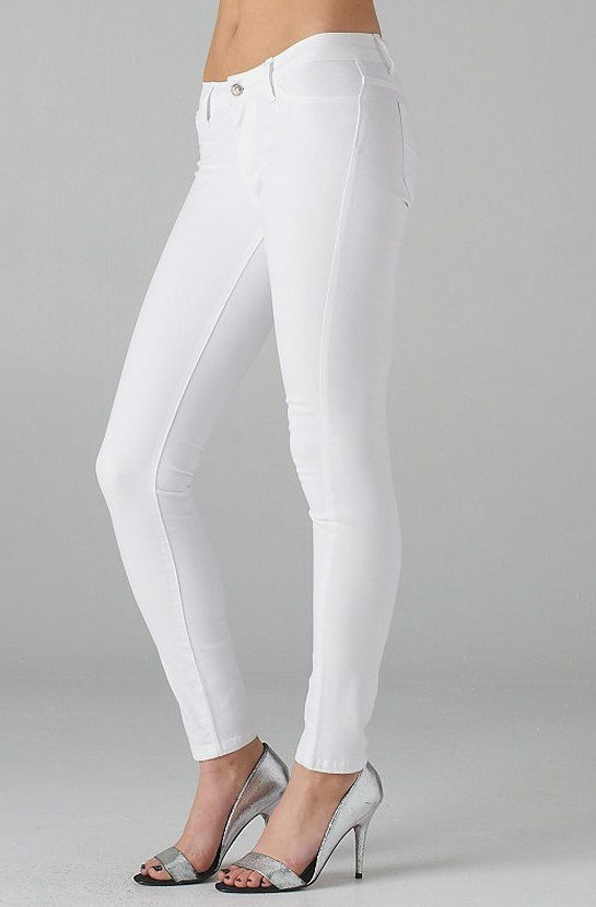 stretch white jeans - Jean Yu Beauty