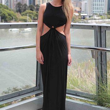Black puffball maxi dress