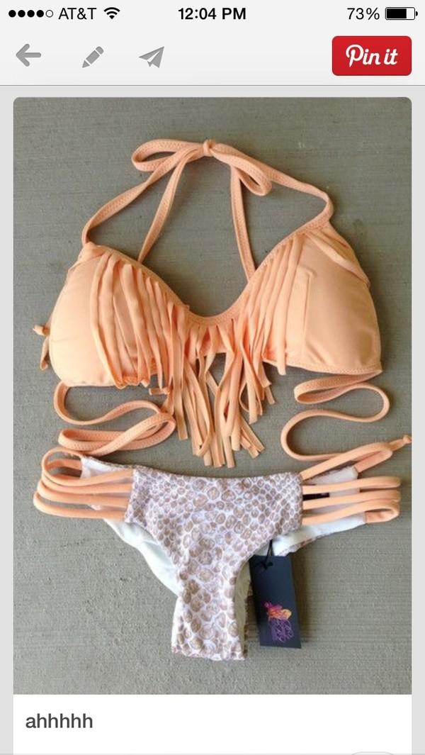 swimwear peach fringes