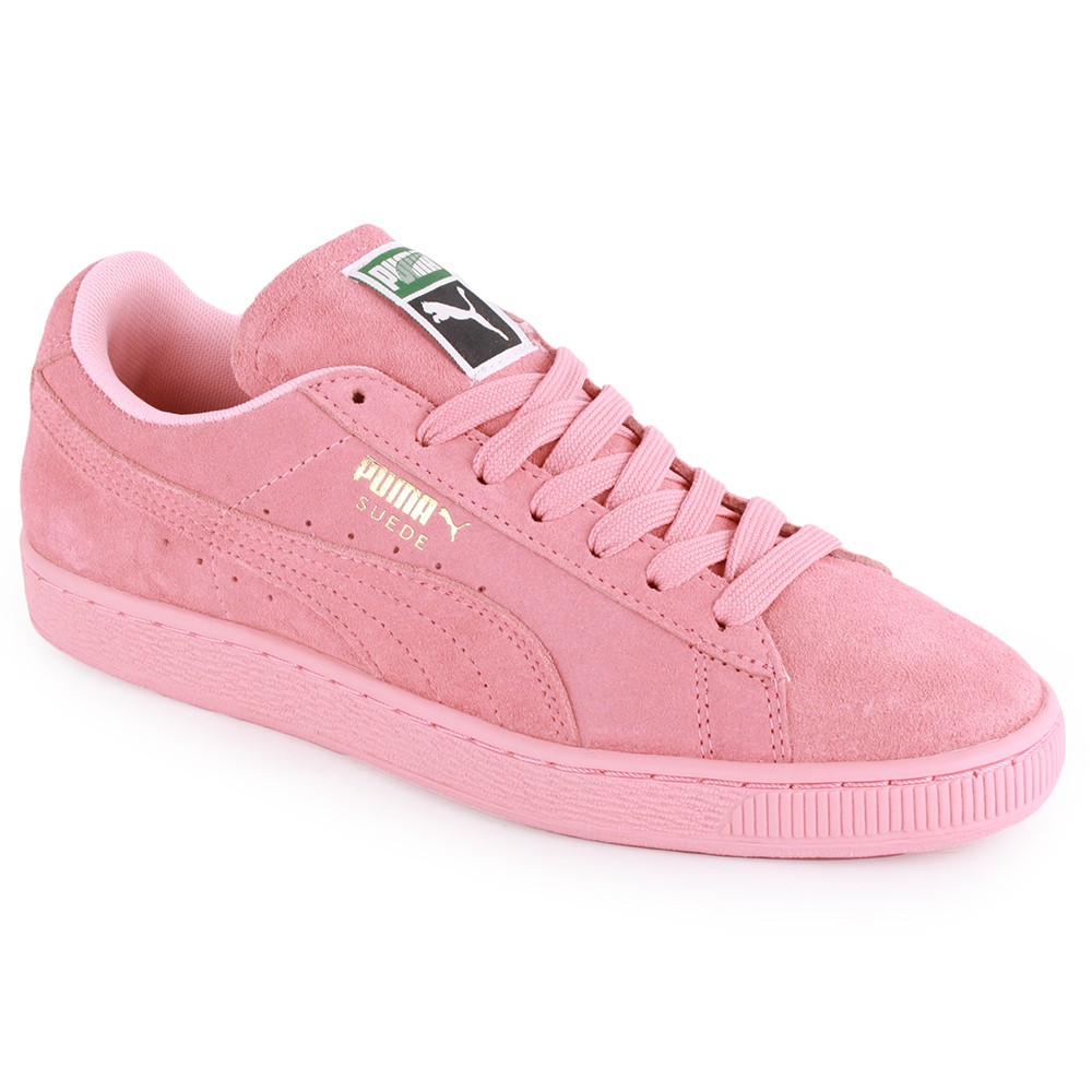 Puma Pink Suede Branded Lace Up Trainers