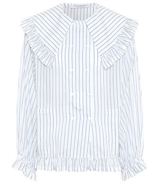 Philosophy Di Lorenzo Serafini Ruffled cotton and silk shirt in white
