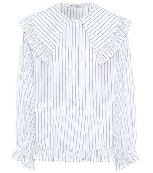 Philosophy Di Lorenzo Serafini Ruffled cotton and silk shirt in white