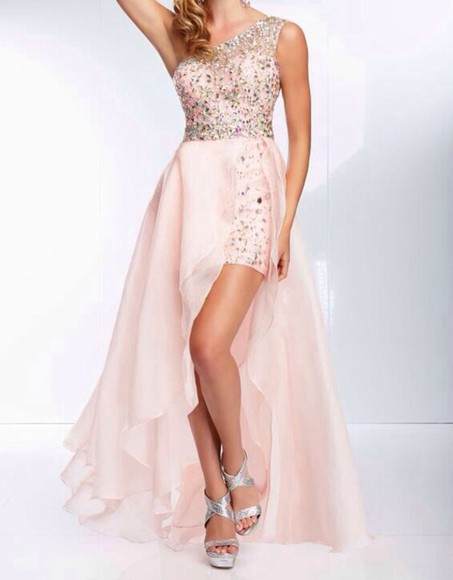 dress prom dress light pink sequins high low