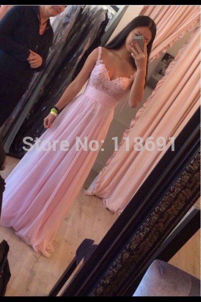 Aliexpress.com : buy sweetheart pink chiffon long prom dresses beaded lace evening dresses spaghetti straps from reliable dresses girl suppliers on edresshop