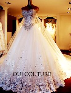 Oui couture paris robe de mariée assa strass swarovski t36 traine 50cm