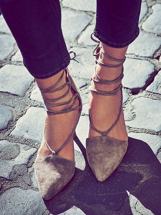 shoes suede suede shoes lace up grey grey shoes pointed toe