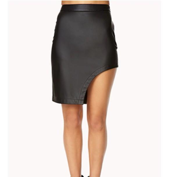 Dress Black Leather Skirt Fashion Side Split Style