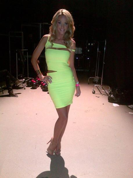 neon yellow dress evening dress party cut-out dress