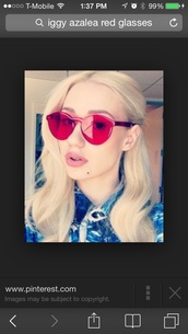 sunglasses,iggy azalea,glasses,red