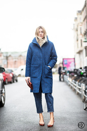 camille over the rainbow,blogger,blue coat,winter coat,cropped jeans,coat,jeans,shoes,bag