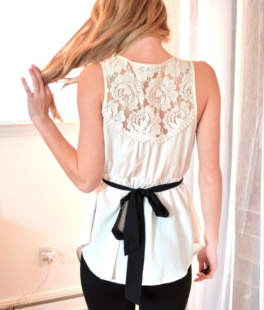 Cream blouse with lace back pearl buttons forever 21 small s beige classy tank