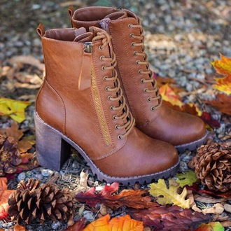shoes brown shoes laces heals combat boots brown booties brown boots