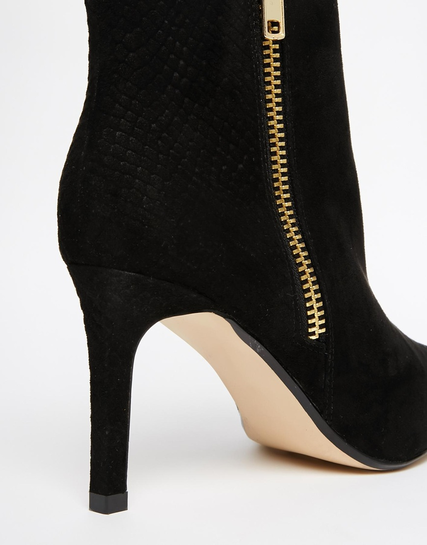river island black pointed toe heeled boots at asos