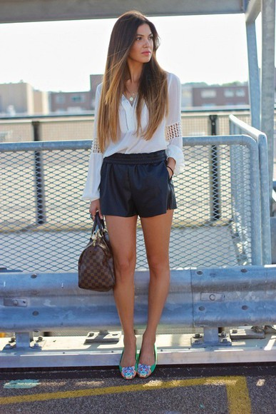 bag blouse white shorts leather shorts louis vuitton designer flats kenzo green