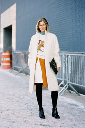 vanessa jackman,blogger,sweater,coat,shoes,fox,slit skirt,winter coat,fuzzy coat,winter outfits,white fluffy coat,white coat,skirt,opaque tights,tight,printed pouch,pouch,ankle boots,cold weather outfit,white winter outfit,patent boots,white oversized coat