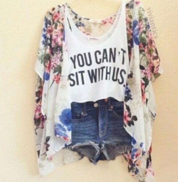 shirt youcantsitwithus tank top mean girls floral shorts summer