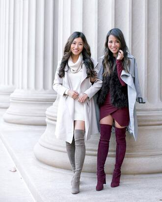 shoes tumblr over the knee boots girl squad friends thigh high boots grey boots high heels boots sweater dress mini dress purple dress purple asymmetrical asymmetrical dress wrap dress turtleneck dress turtleneck coat white coat trench coat grey coat white knit dress