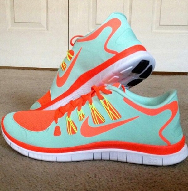 2b90d10aa3e8 shoes baby blue neon orange nike free run nike free run