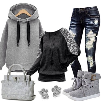 shoes gray hoodie ripped jeans high top sneakers black t-shirt