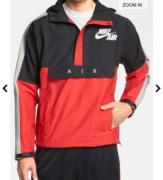 jacket nike black nike air red