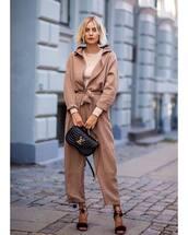 jumpsuit,long sleeves,sandal heels,bag,top,fashion