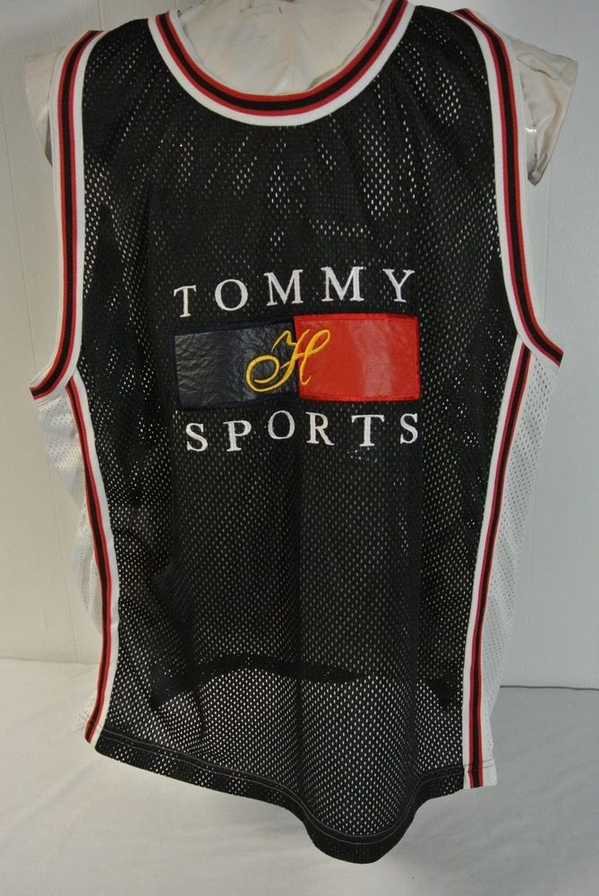 Vtg.tommy hilfiger sports wear sz. xl men tank top mesh jersey color block flag