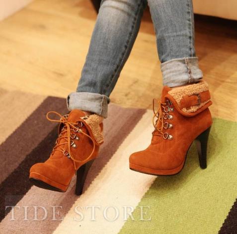 Fashion PU Upper Pure Color Stiletto Heels Fur Ankle Boots: tidestore.com