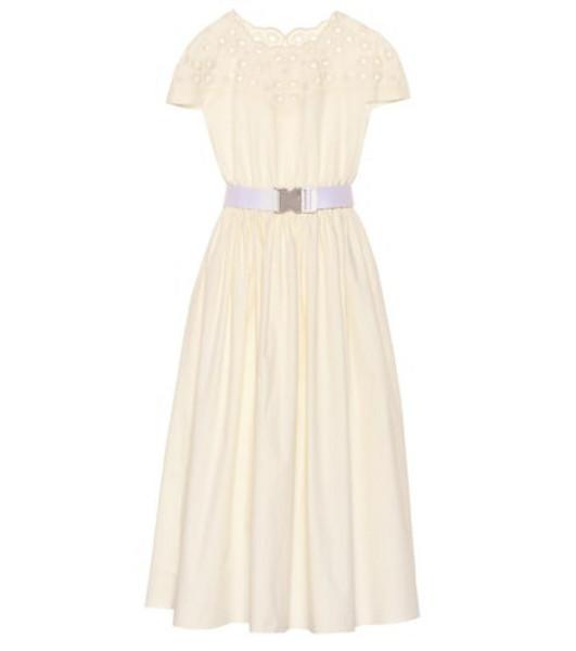 Fendi Embroidered cotton midi dress in white