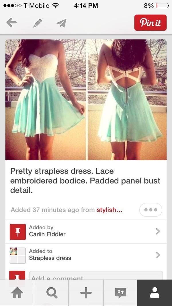 dress strapless white blue dress
