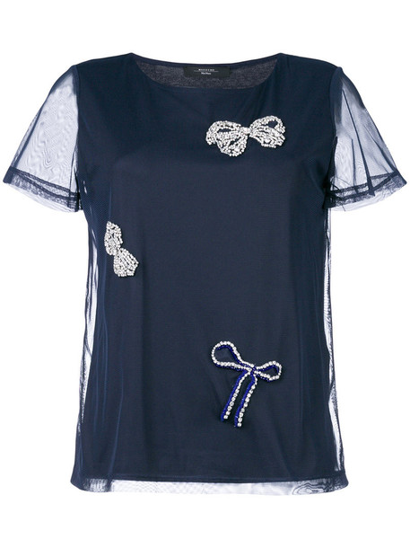 blouse bow women spandex embellished cotton blue top