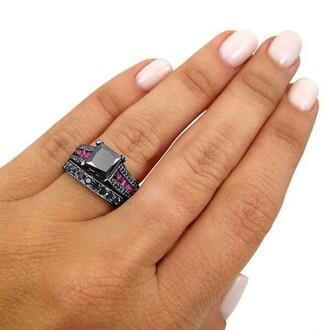 jewels black diamond ring set bridal ring set with pink sapphire gorgeous princess cut black diamond bridal wedding ring set in black gold plated silver evolees.com