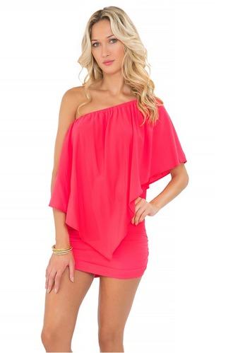 dress party dress corl luli fama pink dress ruffle dress one shoulder summer dress beach dress bikiniluxe