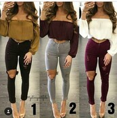 jeans,ripped jeans,skinny jeans,high waisted jeans,black jeans,black ripped jeans,grey jeans,burgundy jeans,pants,black pants,skinny pants,black high waisted pants,high waisted pants,top,summer top,cute top,crop tops,long sleeves,long sleeve crop top,off the shoulder,off the shoulder top,outfit,outfit idea,summer outfits,cute outfits,spring outfits,date outfit,party outfits,trendy,clothes,fashion,style,stylish,clubwear,casual,white top,white crop tops,shoes,sexy shoes,party shoes,cute shoes,cute high heels,summer shoes,summer pants,pumps,high heel pumps,heels,high heels,burgundy top