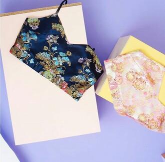 top japanese crop tops bralette flowers blue multicolor tumblr