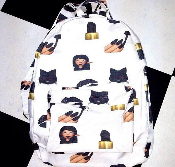 bag emoji print backpack bookbag emoji print