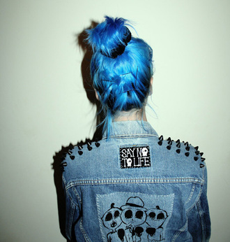 jacket blue hair denim jacket grunge cute girl pastel hair
