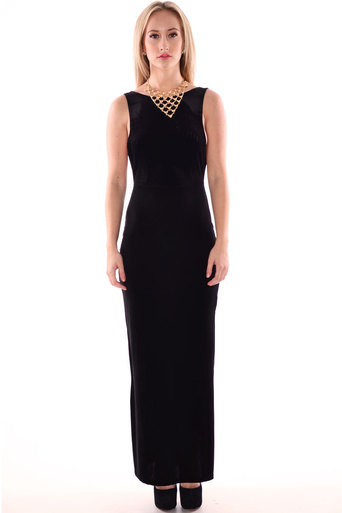Womens Shaan V Back Sleeveless Velour Velvet Maxi Dress In Black