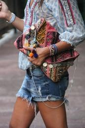 bag,aztec,hippie,boho,blouse,t-shirt,shirt,shorts,clutch,handbag,mirror,lace,boho bag,frayed denim,coachella,colorful