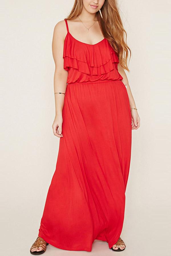 Red Spaghetti Straps Ruffle Plus Size Dress
