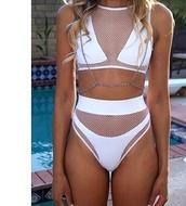 swimwear,white bikini,mesh,mesh bikini,hot,summer,white