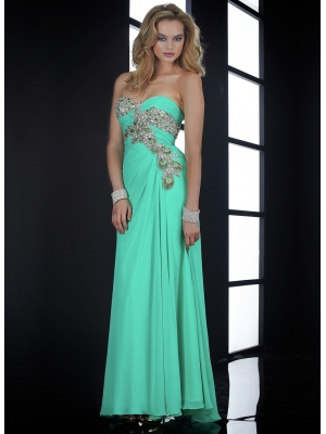 Buy Graceful Blue A-line Sweetheart Neckline Floor Length Chiffon Prom Dress  under 300-SinoAnt.com