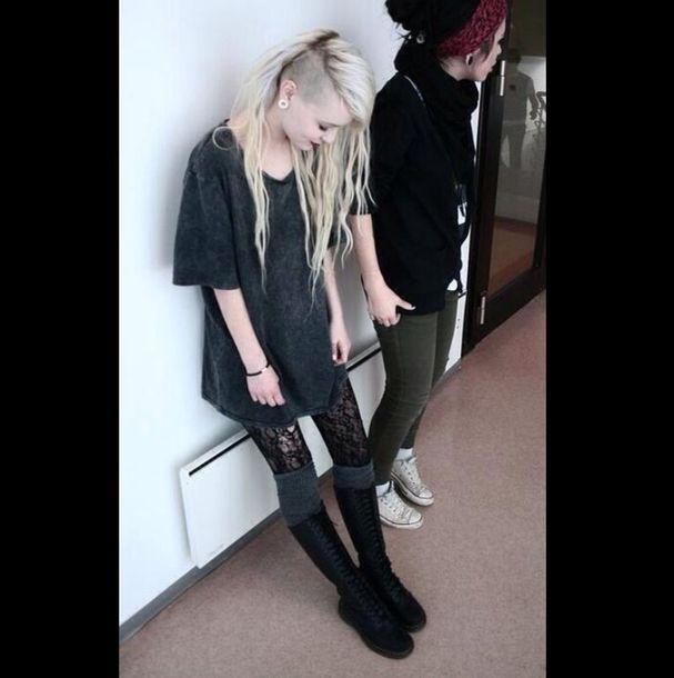 shoes grunge soft grunge boots combat boots black punk punk rock shirt