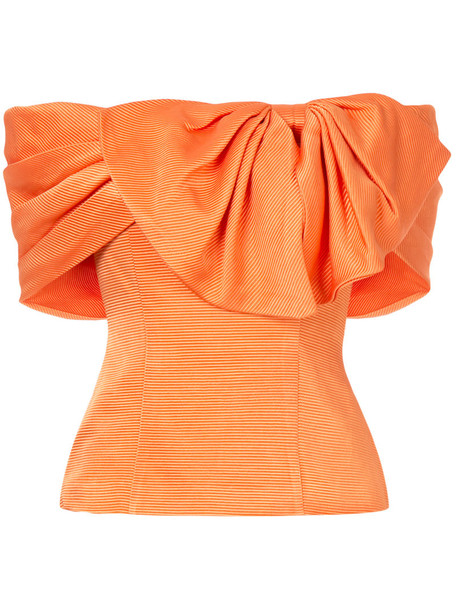 Bambah top bow top bow women silk yellow orange
