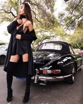 dress,black slip dress,black dress,slip dress,mini dress,black sexy dress,sexy dress,club dress,party dress,black cardigan,long cardigan,cardigan,boots,over the knee boots,black boots,fall outfits,black choker,rumi neely,blogger