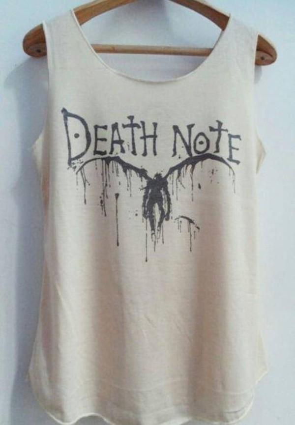 death note manga manga shirt white white shirt anime anime shirt shirt tank top