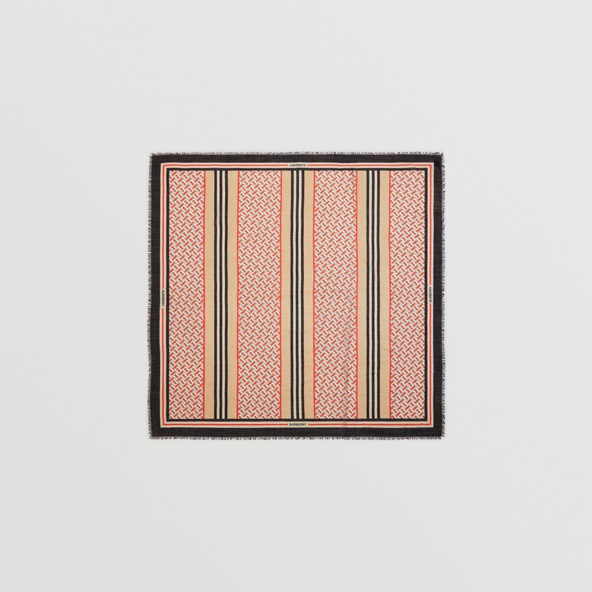 Icon Stripe Monogram Print Wool Silk Square Large Scarf